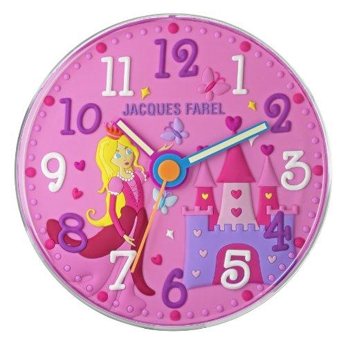 JACQUES FAREL Kinderwanduhr Mädchen Prinzessin rosa/pink ohne Ticken, mit Leuchtzeiger WAL 11