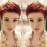 Queentas 100% Perruques Ondulées De Cheveux Humains Rotbraun Pixie Coupé Brésilien Layered Perruques (#2/33)