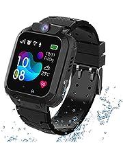 Kindersmartwatch waterdicht, GPS tracker touchscreen Kid Smart Watch Phone voor jongens en meisjes met SOS Game-camera telefoon Voice Chat, GPS-S12-BLACK