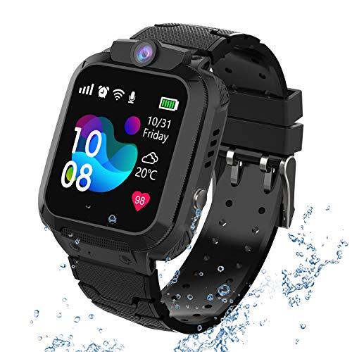 GPS Reloj Smartwatch para nios, impermeable GPS Rastreador Reloj anti-perdida de telfonos inteligentes SOS, llamada bidireccional juegos matemticas - regalo para para Nios Nia 3-12 Aos, Black