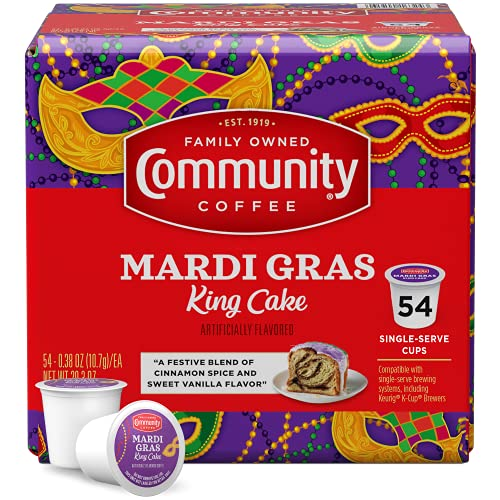 Community Coffee Mardi Gras King Cake Flavored 54 Count Coffee Pods, Medium Roast, Compatible with Keurig 2.0 K-Cup Brewers, Box of 54 Pods