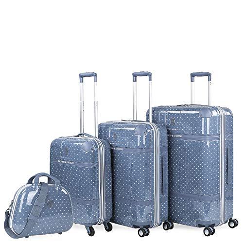 VICTORIO & LUCCHINO - Juego de Maletas de Viaje Ligeras 4 pzs. Set Trolley 4 Ruedas Cabina + Mediana + Grande + Neceser Rígidas y Resistentes. Conjunto Equipaje Avión. 80105B, Color Azul