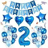 Amycute 2er Decoraciones de Cumpleaños Globos, Feliz Cumpleaños Globos 2 Años Azul, Globos Número 2 Digitales Gigante del Papel de Aluminio, Globos de Confeti de Latex para Fiestas Niños