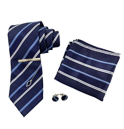 KRUIHAN 4Pcs Juego de Corbatas Hombre - Sarga Corbata Pañuelo Clásico con Gemelos Tiepin Traje Formal Accesorios para Papá, Esposo, Novio Azul Marino