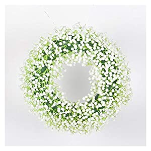 Silk Flower Arrangements WODEJIA Door Garland White and Green Babies Breath Artificial Flowers Fake Gypsophila DIY Floral Arrangement Wedding Home Decor Fall Farmhouse Wreath (Color : 30cm)