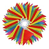 Vicloon 38m 100 pezzi Bandierine Pavese Bandierine Plastica Bandierine Colorate, Bandiere Doppie Carnevale Facciate Interne / Partito Decorazione Esterna
