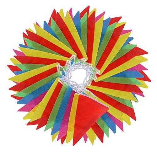 Vicloon Multicolor banderín 100 Banderas de Poliéster Bunting Bandera de Triángulo Decoración Banderas Decorativas de Tela de Poliéster para el Partido Jardín al aire Libre y Otras Fiestas