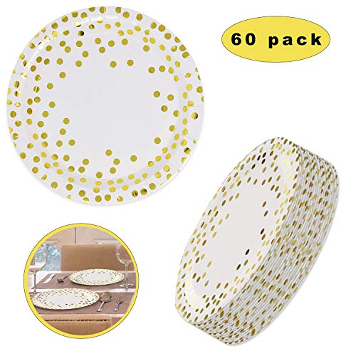 Goud Wegwerp Platen Papier Bruiloft Partij, Polka stip Papier Platen, Folie Dot Papier Platen, Party Dinnerware Platen Goud, Goud Party Supplies Party Servies 60 Pcs