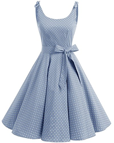 Bbonlinedress 1950er Vintage Polka Dots Pinup Retro Rockabilly Kleid Cocktailkleider Blue White Dot M
