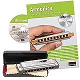 CASCHA Harmonica set débutant avec livre en espagnol, apprenez à jouer de l'harmonica blues, y compris étui, tissu et manuel, harmonica en do majeur