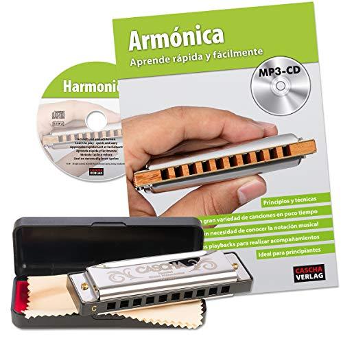 CASCHA Armónica Principiantes Juego con Libro de Texto Española, Blues Harmonica Jugar Aprendizaje, incluye gamuza Case, Cuidado y libro, C DuraSec Armónica, Plata