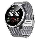 QKa Smart Watch mit EKG-Wiedergabediagramm und Blutdruck-Herzfrequenzmesser, Einstellbarer Helligkeit Edelstahl-Armband Smartwatch IP67,Silver
