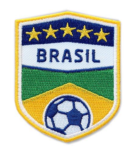 Club of Heroes 2 x Brasil Fussball Abzeichen 70 x 55 mm/Brasilien Aufnäher Aufbügler Applikation Patch Bügelbild für Kleidung Cap Taschen/Football Team Dress Trikot Welt-Meister Flagge Fan