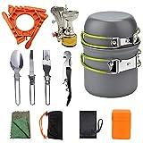 Picnic & StackablePots y sartenes Set Suministros al aire libre Camping Camping Picnic Set de utensilios de cocina Portátil 1-2 personas Cocina de picnic Utensilios de cocina Utensilios de cocina