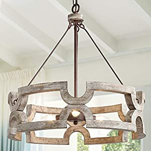 """KSANA Farmhouse Chandelier, Wood Drum Chandeliers for Dining Rooms, Living Room, Hand-Painted White Finish, W19.5"""" X H21"""""""