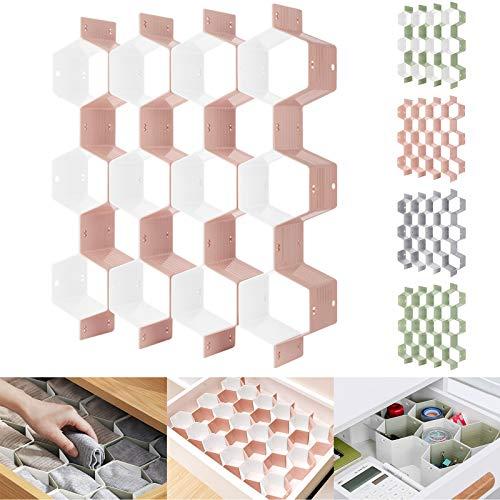 Honeycomb Separator Adjustable Drawer Organizer Divider for Underwear Belt-Scarf Socks Organizer PinkWhite