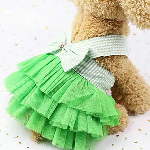 Tuzi Qiuge Sommer Welpen Prinzessin Hochzeitskleid Anzug Welpen Kleidung Hemdkleidung, Größe: XS (Jean Pink) (Color : Green Stripe)