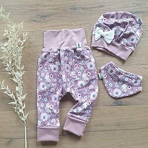 ANGEBOT Set – Hose, Schleifenmütze, Halstuch – Vögelchen Flieder (Altrose)) Baby Mädchen