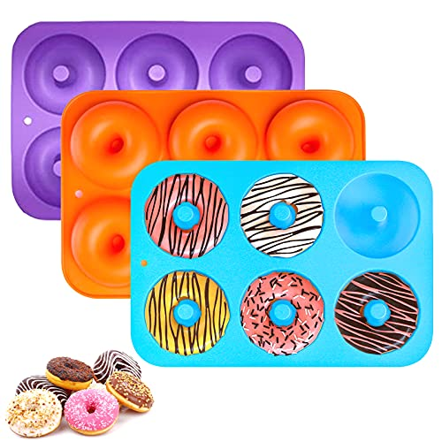 Sprießen Moldes de Silicona Donut, 3 Moldes de Silicona con Forma de Donut, Antiadherente Molde de Silicona para Galletas, Bagels, Muffins, Adecuado para lavavajillas, hornos, microondas