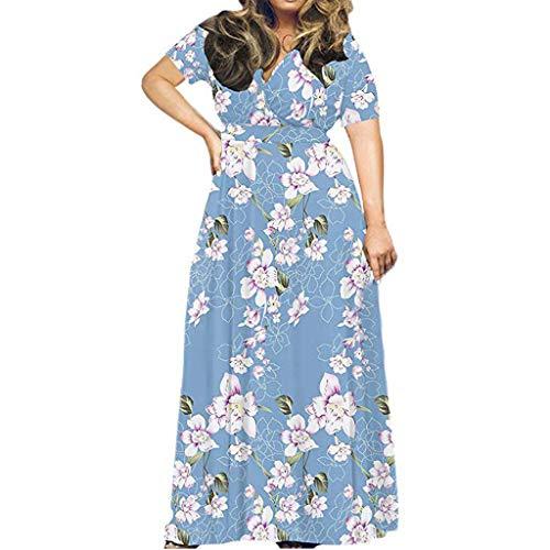 UYSDF Fashion Kleidung Damen Mode Plus Größe Drucken Kurzarm Lose Einfach Beiläufig Lange Maxi Kleid