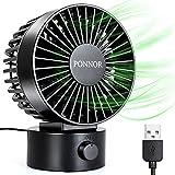 PONNOR Ventilador de USB, Mini Ventilador de Mesa con 2 Velocidades y Cable USB 1.8m