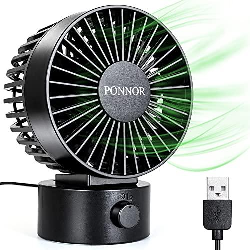 PONNOR Ventilador USB portátil, mini ventilador de mesa con 2 velocidades y cable USB de 1,8 m, silencioso para casa, oficina, viaje