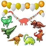 Decoraciones Fiesta Cumpleaños,Parte De Dinosaurios Tema Globo Set (21 Pcs), Banner, Forma De Dinosaurio Tyrannosaurus Velociraptor Dragón De Largo Cuello Globo Lámina Para Niños, Adulto,Cumplea