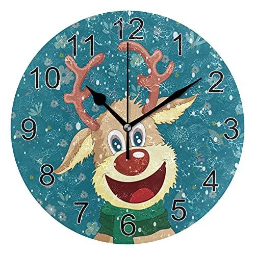 Reloj de pared silencioso,reloj de cocina,Relojes de Cuarzo silencioso Que no Hace tictac,para sala de estar,dormitorios,(Diámetro: 25 cm),Dibujos animados de icono de renos de fondo de invierno