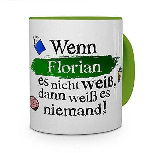 printplanet Tasse mit Namen Florian - Layout: Wenn Florian es Nicht weiß, dann weiß es niemand - Namenstasse, Kaffeebecher, Mug, Becher, Kaffee-Tasse - Farbe Grün