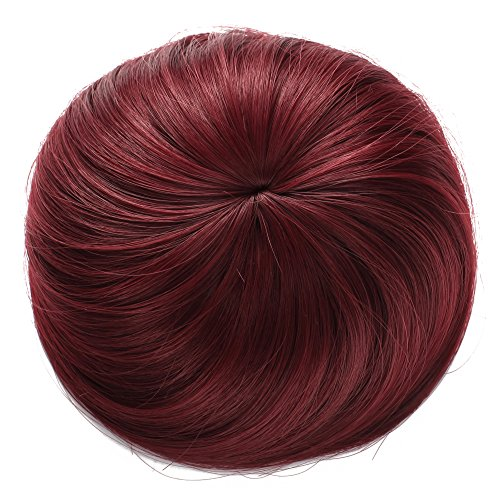 Onedor Synthetic Fiber Hair Extension Chignon Donut Bun Wig Hairpiece (BUG - Wine Red)