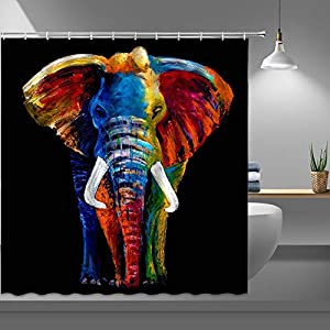 RAYLONZE Oil Painting Elephant Shower Curtains for Bathroom,African Wild Animal Fabric Shower Curtain with Plastic Hooks,69x70 Inch