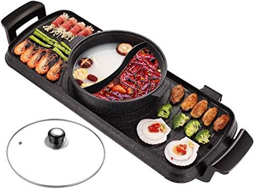 Parrilla eléctrica portátil, olla caliente coreana barbacoa de una olla en casa de doble uso de doble uso Máquina para hornear eléctrica Máquina de barbacoa Máquina asada Pot SHABU-shabu (Tamaño: a),
