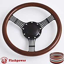 Flashpower 14'' Billet Banjo Half Wrap Steering Wheel with 9 Bolts 2'' Dish and Horn Button (Walnut Wood)