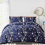 NANKO Comforter Set Queen Size Navy Blue Branch and White Floral Print 88 x 90 inch 3pc Reversible Down Alternative Microfiber Duvet Sets Farmhouse Modern Bedding Sets in a Bag for Women Men Teen