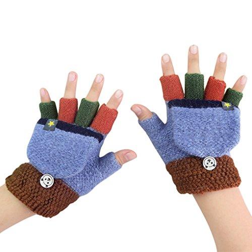 Fäustlinge mit Knopf Klappe Fingerlose Handschuhe für Kinder Winter Warm Strickhandschuhe Winterhandschuhe in Affe Optik