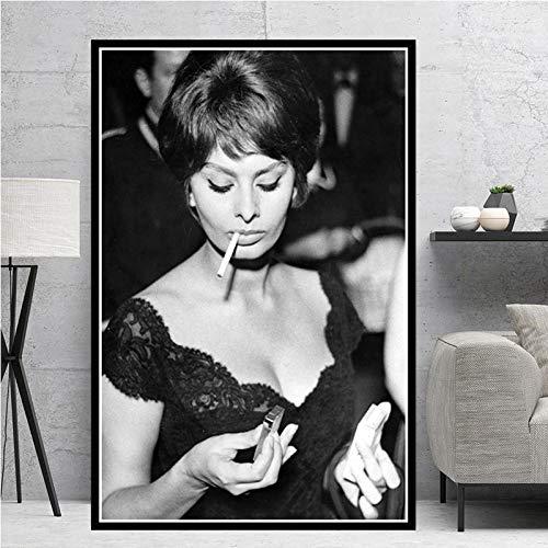 N / A Heiße Sophia Loren (Sophia Loren) Schwarz-Weiß-Schauspielerin Movie Girl Poster Druck Gemälde Ölgemälde Leinwand Wandkunst Bild Home Decoration 50x70CM N Rahmen