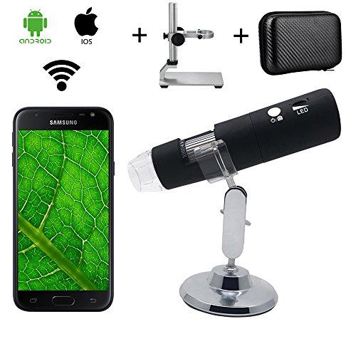 Microscopio Inalámbrico Digital WiFi, Microscopio de Ampliación Bysameyee 1000X con Soporte de Metal/Estuche para iPhone iOS iPad Android Phones Tablet