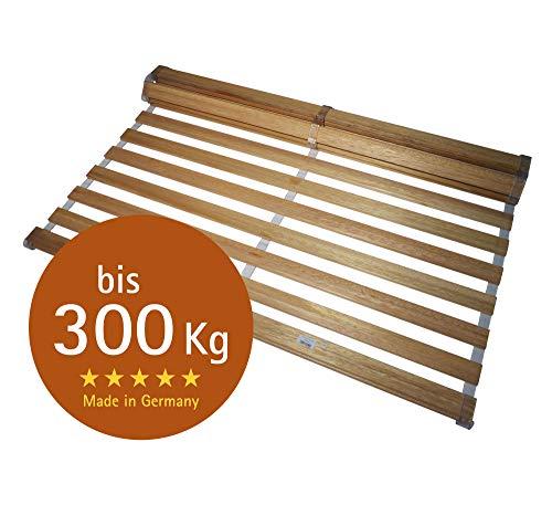 Chirollet® Premium-Rollrost extra stabil und extrem belastbar - bis 300 KG – hochwertiges Vollholz – ohne Montage/Verschraubung - rutschsicher – auch für Kinderbetten/XXL