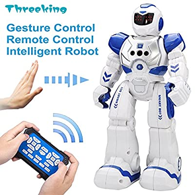 Threeking Smart Robot Toys Gesture Control & Remote Control Robot Gift Boys Girls Kid's Companion:Game Fun Learning Music Dance Etc.Rechargeable Smart Robot Kit