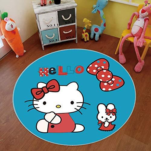 TITST 80cm 31.4in Alfombra Redonda de Juego de Dibujos Animados para Dormitorio de niños con Parte Posterior Antideslizante Lavable a máquina Hello Kitty