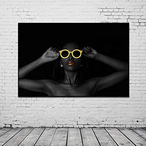 Douwert Mujer Negra con Gafas Amarillas Retrato Lienzo Pintura Carteles e Impresiones Cuadro de Arte de Pared Moderno para Sala de Estar sin Marco 40x60cm