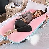 Lambony Almohada de Embarazo, Almohada de Mujer Embarazada en Forma de U Para Apoyar Las Piernas y La Espalda, 100% Algodón Agradable a La Piel, 9Ft, Terciopelo Azul Rosa (Con Gris Funda de Repuesto)