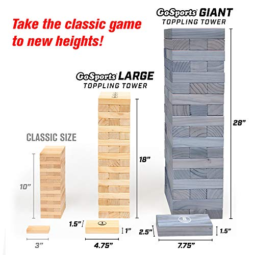 GoSports Giant Wooden Toppling Tower (Stacks to 5+ Feet) - Choose Between Natural, Brown Stain, Gray Stain or Stars and Stripes - Includes Bonus Rules with Gameboard, Made from Premium Pine