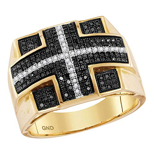 Jewels By Lux anillo de diamante negro de oro amarillo para hombre