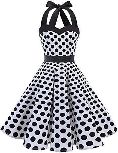 DRESSTELLS Neckholder Rockabilly 1950er Polka Dots Punkte Vintage Retro Cocktailkleid Petticoat Faltenrock White Black Dot L