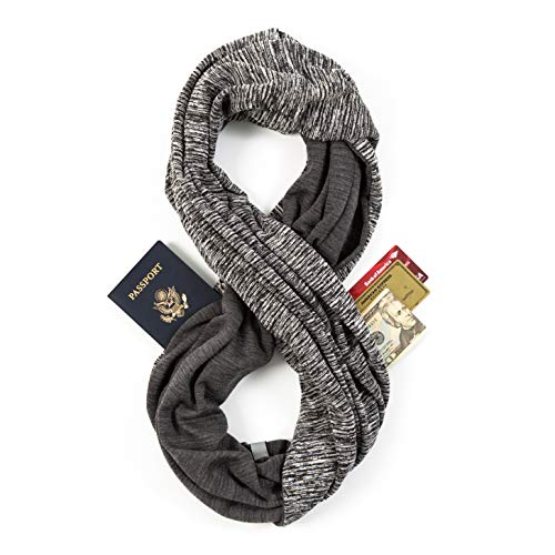 Travel Scarf - Infinity Scarf With Zipper Pocket & Customizable Snaps - Lightweight Scarf for Women (Ash)