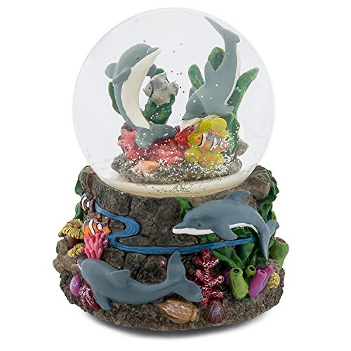 Elanze Designs Dolphin World Coral Reef 100MM Music Water Globe Plays Tune Somewhere Out There