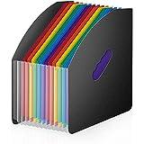 QWSNED Carpeta,Organizadores de archivos,Organizador de documentos A4,Soporte de escritorio de carpeta de archivos, carpeta de archivos de plástico portátil de acordeón