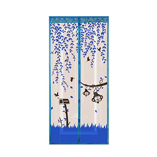 GROOMY Soft Screen Door, Curtain Anti Mosquito Magnetic Tulle Shower Automatic Door Summer Style Mesh Net-Blue
