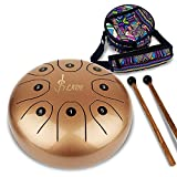 Steel Tongue Drum 8 Notes 5.5 Inches Chakra Tank Drum Handpan Percussion Instrument with Padded Travel Bag, Mallets, 4 Finger Picks Prefect for Musical, Education, Decompression, Leisure(Golden)